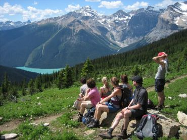 hiking tour, rocky mountains, canada, vacation