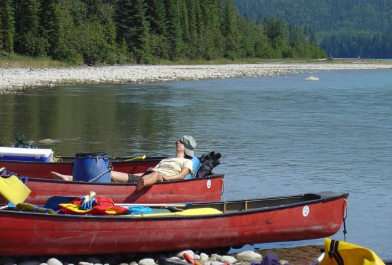 outdoor adventure, canoeing on the athabsaca river, Alberta
