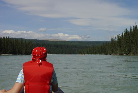 canoeing on the Athabasca River in Alberta