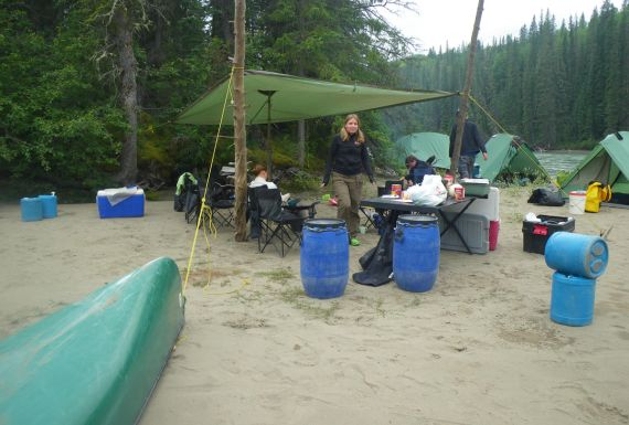 Wilderness camp on a sandy island in the Athabasca River